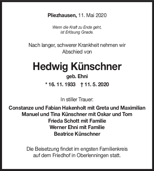"""Trauer Hedwig Künschner <br><p style=""""font-size: 10px; text-align: center;"""">20/05/2020</p>"""
