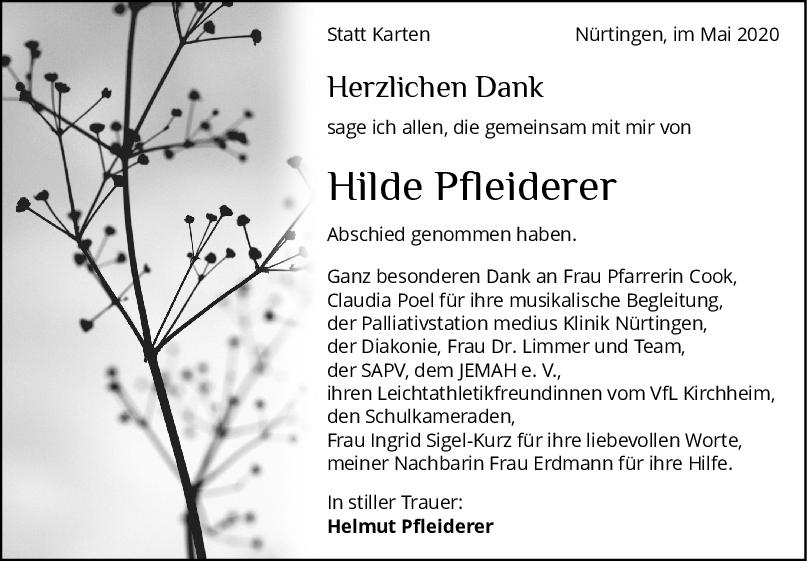 Danksagung Hilde Pfleiderer <br><p style=