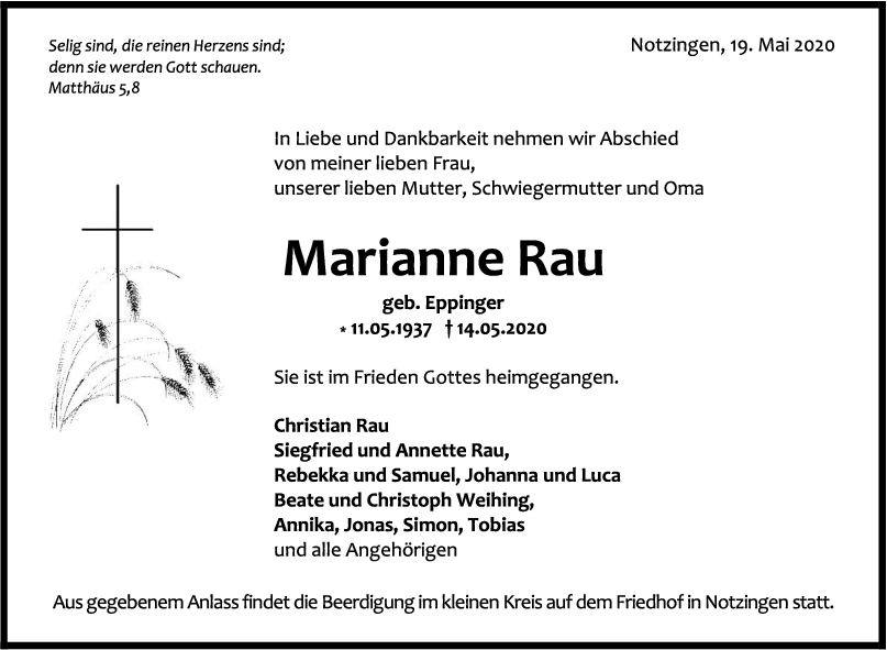 """Trauer Marianne Rau <br><p style=""""font-size: 10px; text-align: center;"""">19/05/2020</p>"""