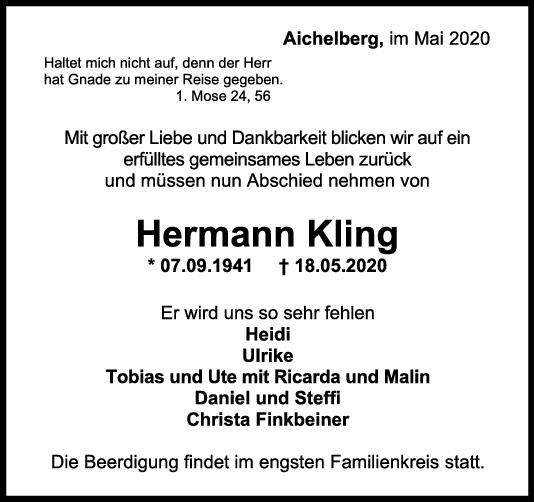 Trauer Hermann Kling <br><p style=