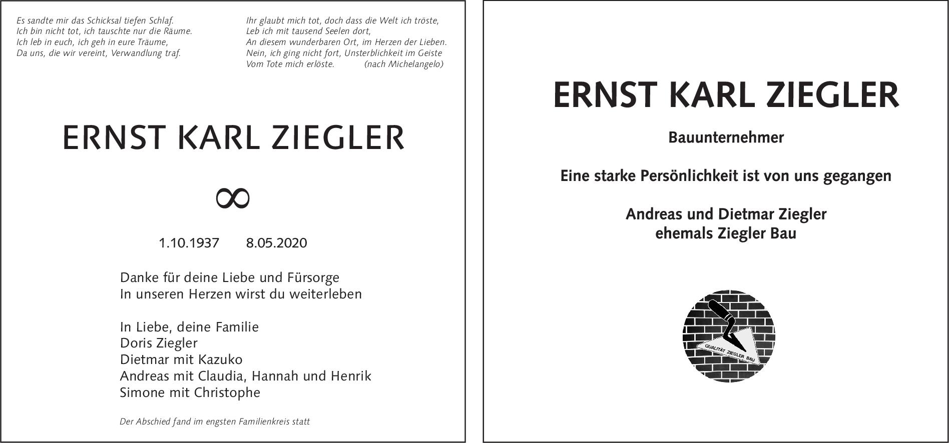 "Trauer Ernst Ziegler <br><p style=""font-size: 10px; text-align: center;"">23/05/2020</p>"