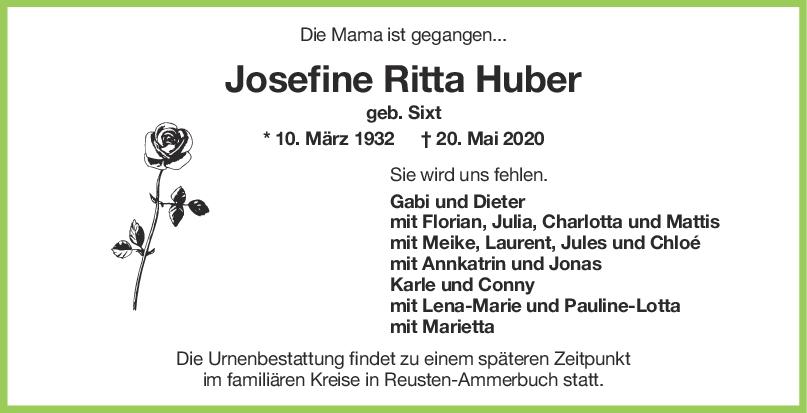 Trauer Josefine Ritta Huber <br><p style=