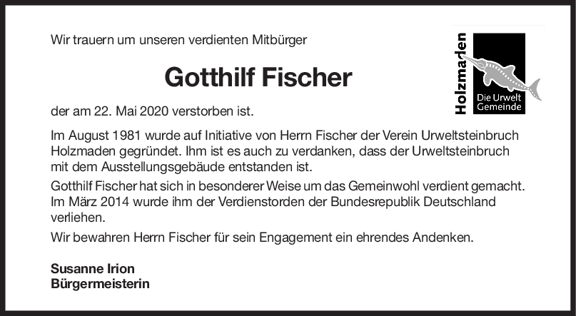 Nachruf Gotthilf Fischer <br><p style=