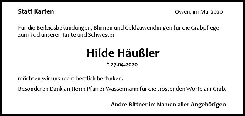 Danksagung Hilde Häußler <br><p style=