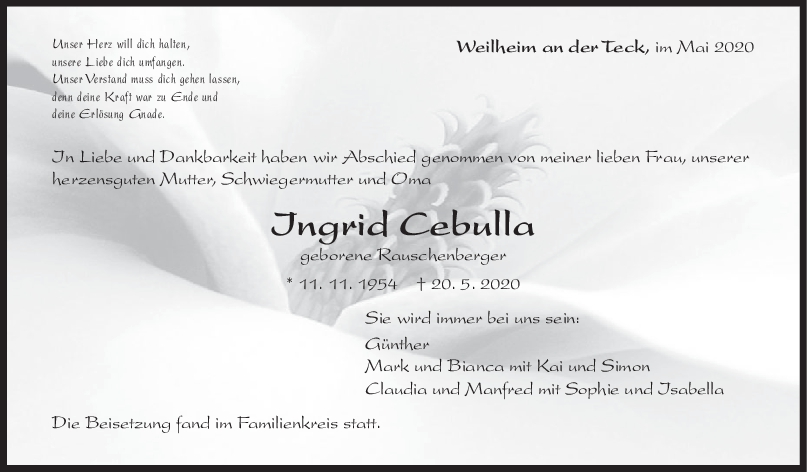 """Trauer Ingrid Cebulla <br><p style=""""font-size: 10px; text-align: center;"""">30/05/2020</p>"""