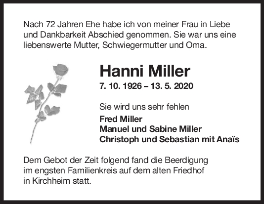 """Trauer Hanni Miller <br><p style=""""font-size: 10px; text-align: center;"""">28/05/2020</p>"""