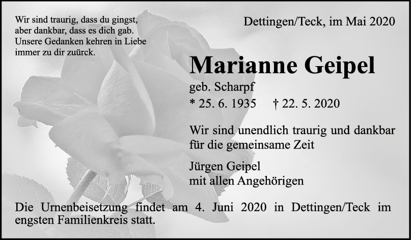 """Trauer Marianne Geipel <br><p style=""""font-size: 10px; text-align: center;"""">30/05/2020</p>"""
