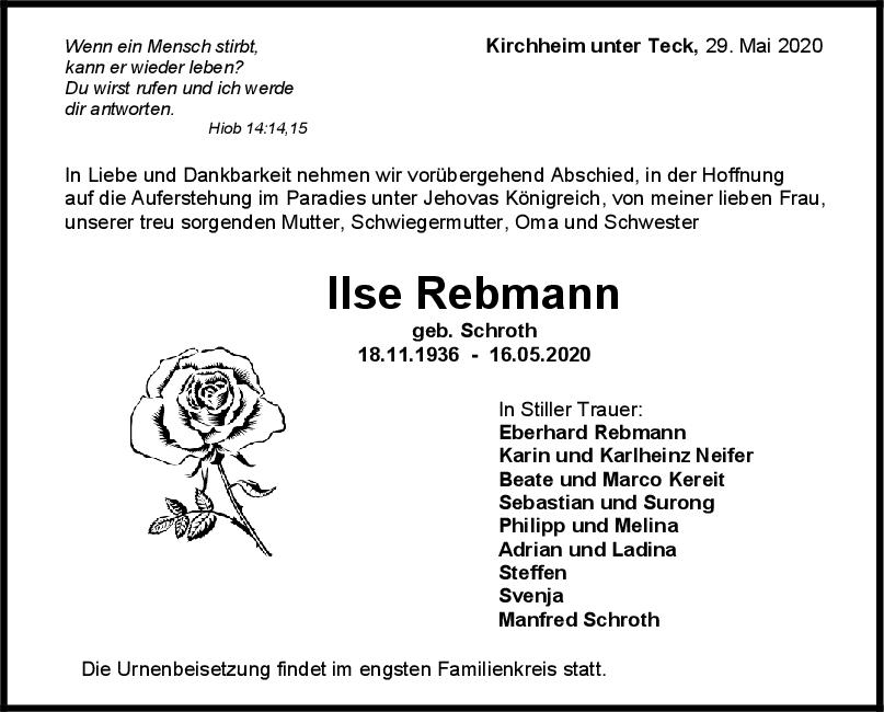 Trauer Ilse Rebmann <br><p style=