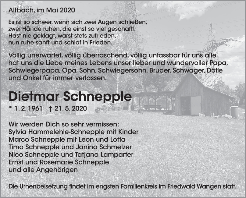 "Trauer Dietmar Schnepple <br><p style=""font-size: 10px; text-align: center;"">30/05/2020</p>"