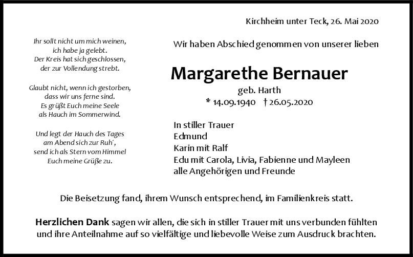 Trauer Margarethe Bernauer <br><p style=
