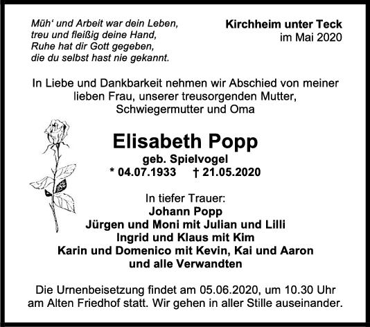Trauer Elisabeth Popp <br><p style=