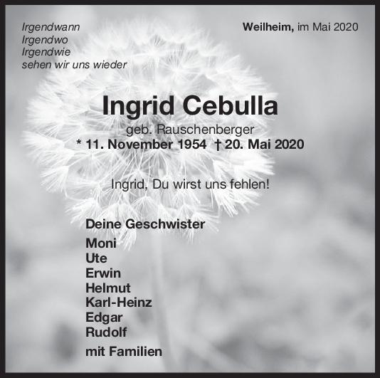 Nachruf Ingrid Cebulla <br><p style=