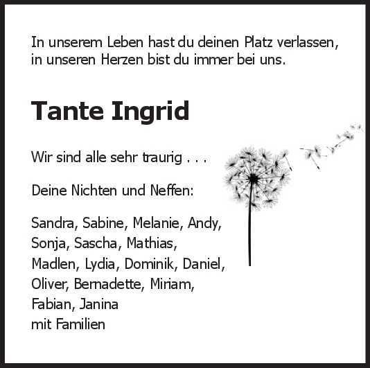 "Nachruf Ingrid Cebulla <br><p style=""font-size: 10px; text-align: center;"">30/05/2020</p>"