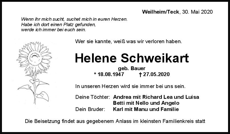 "Trauer Helene Schweikart <br><p style=""font-size: 10px; text-align: center;"">30/05/2020</p>"