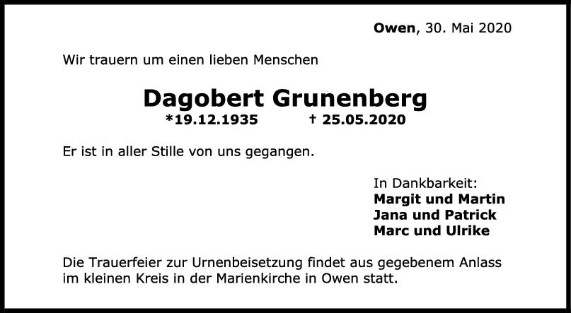 Trauer Dagobert Grunenberg <br><p style=