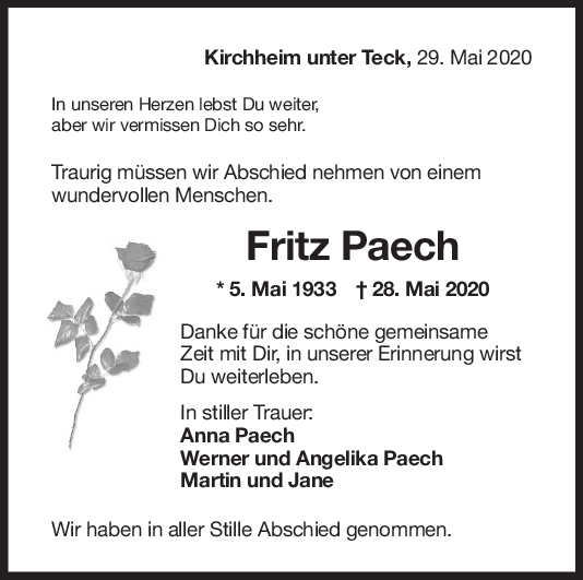 Trauer Fritz Paech <br><p style=