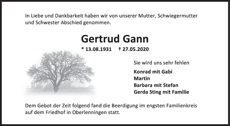"""Trauer Gertrud Gann <br><p style=""""font-size: 10px; text-align: center;"""">04/06/2020</p>"""