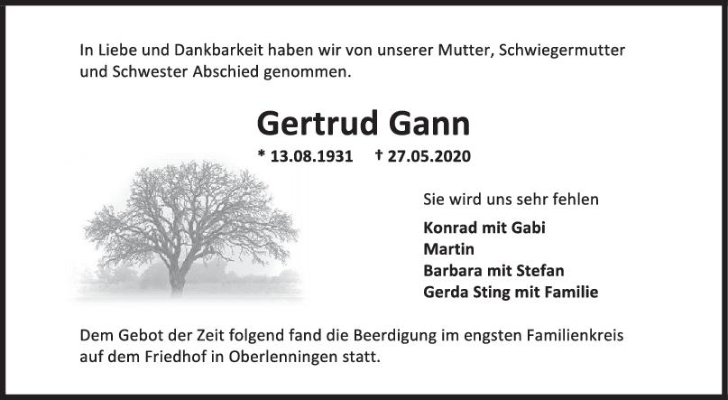 Trauer Gertrud Gann <br><p style=