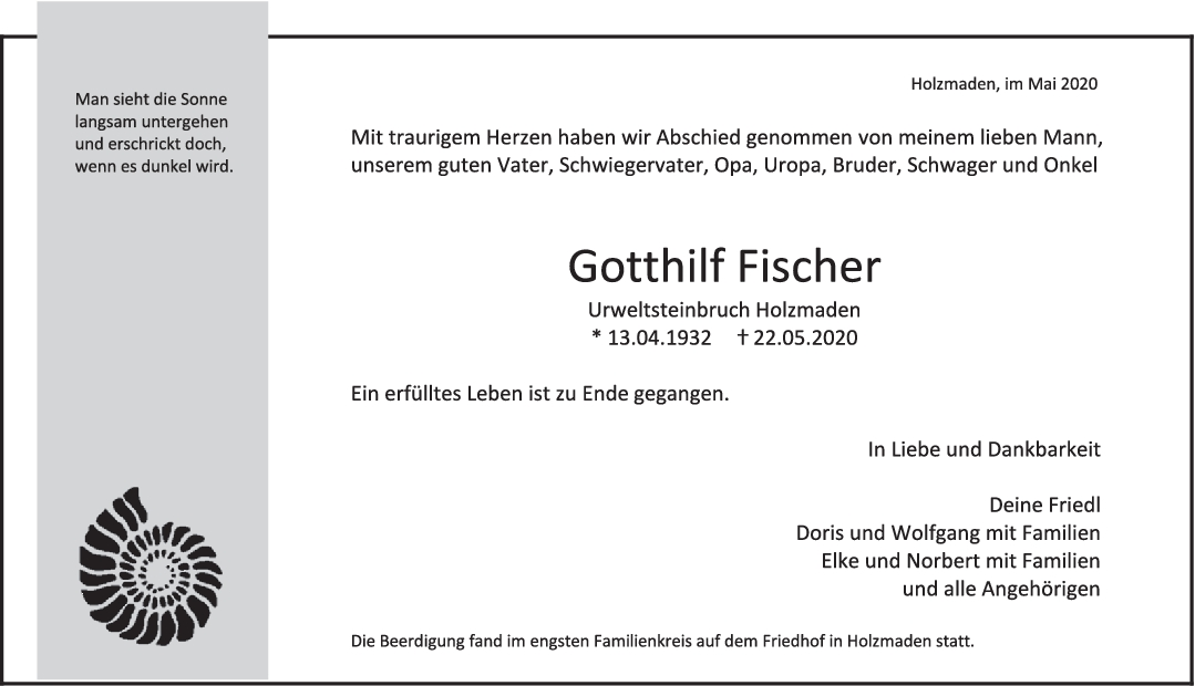 "Trauer Gotthilf Fischer <br><p style=""font-size: 10px; text-align: center;"">03/06/2020</p>"