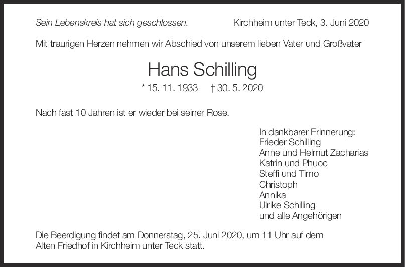 "Trauer Hans Schilling <br><p style=""font-size: 10px; text-align: center;"">03/06/2020</p>"