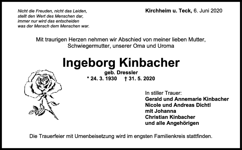 "Trauer Ingeborg Kinbacher <br><p style=""font-size: 10px; text-align: center;"">06/06/2020</p>"