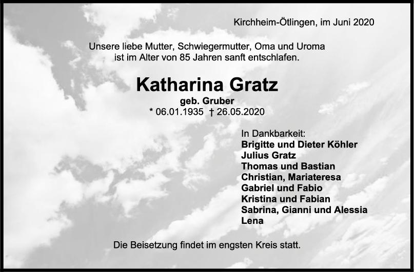 Trauer Katharina Gratz <br><p style=