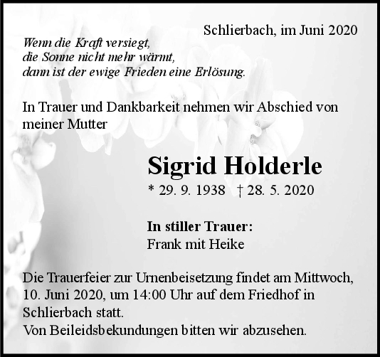 Trauer Sigrid Holderle <br><p style=