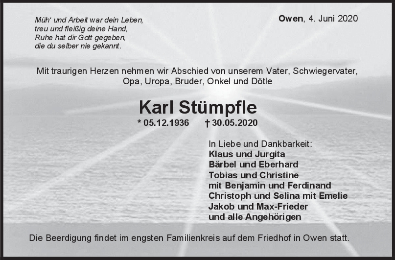 """Trauer Karl Stümpfle <br><p style=""""font-size: 10px; text-align: center;"""">04/06/2020</p>"""