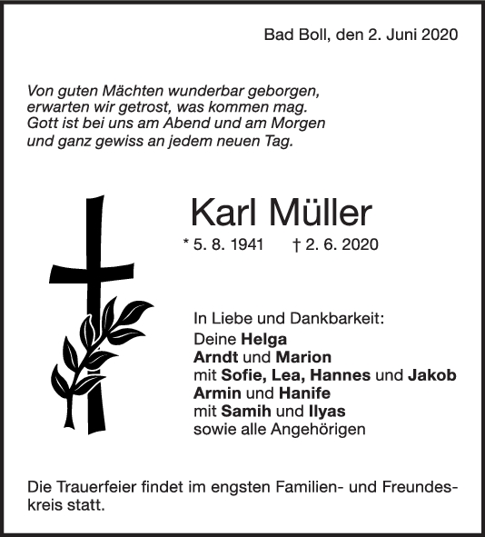 "Trauer Karl Müller <br><p style=""font-size: 10px; text-align: center;"">04/06/2020</p>"