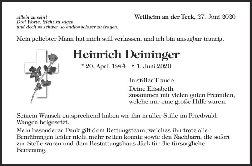 Trauer Heinrich Deininger <br><p style=