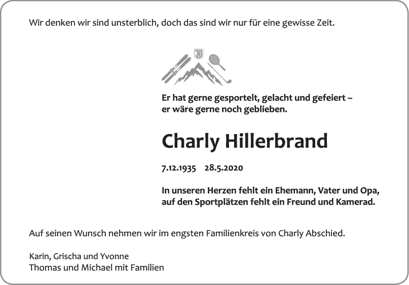 Trauer Karl Hillerbrand <br><p style=