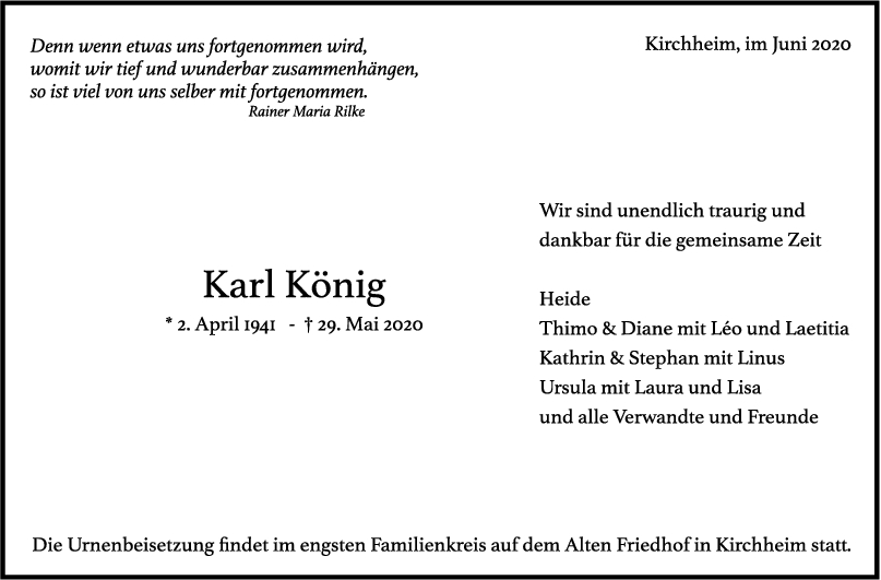 """Trauer Karl König <br><p style=""""font-size: 10px; text-align: center;"""">06/06/2020</p>"""