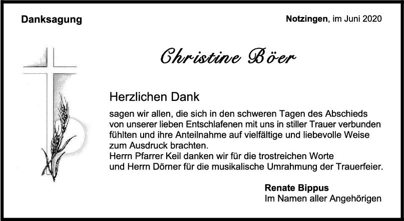 Danksagung Christine Böer <br><p style=
