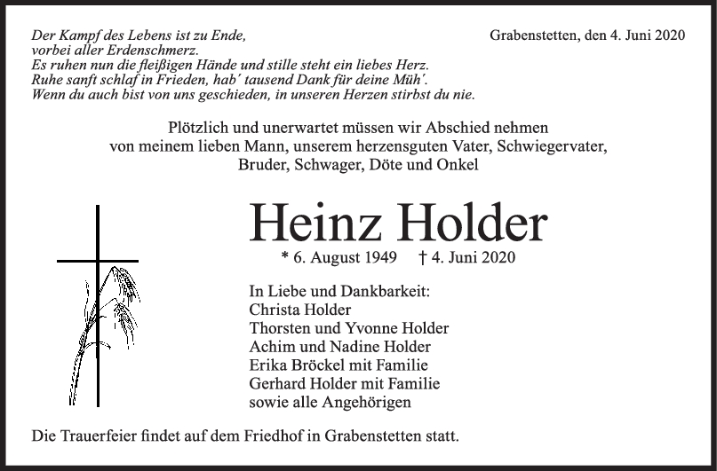 Trauer Heinz Holder <br><p style=