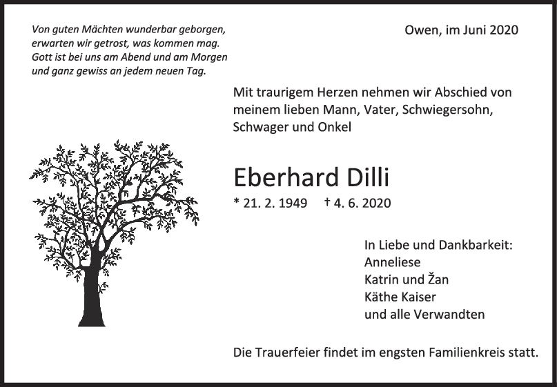 Trauer Eberhard Dilli <br><p style=