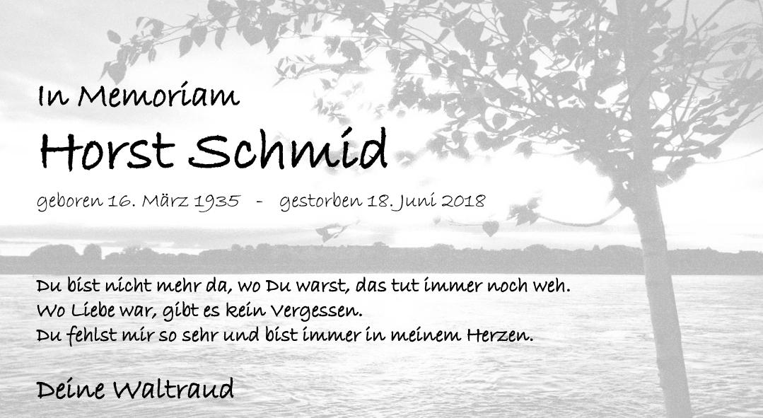 Nachruf Horst Schmid <br><p style=