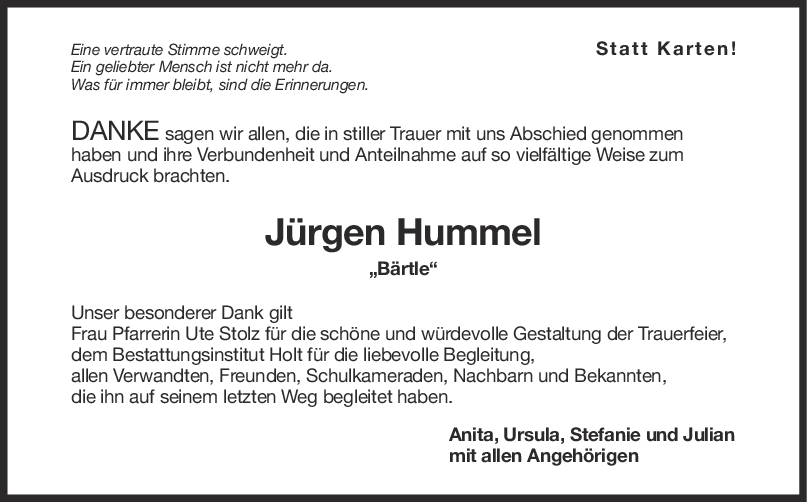Danksagung Jürgen Hummel <br><p style=