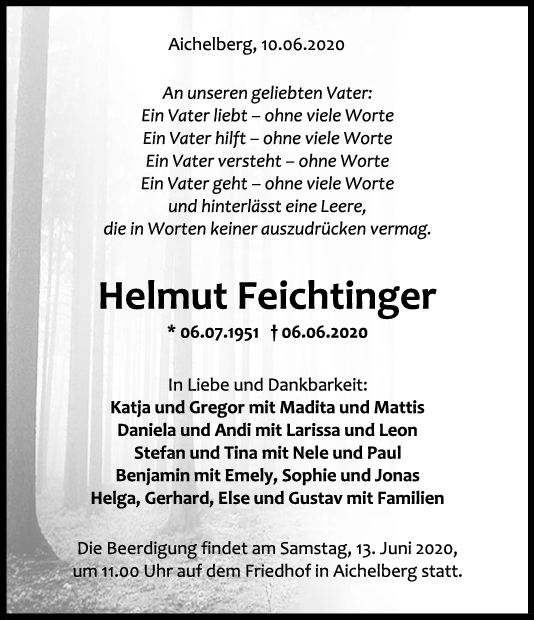 Trauer Helmut Feichtinger <br><p style=