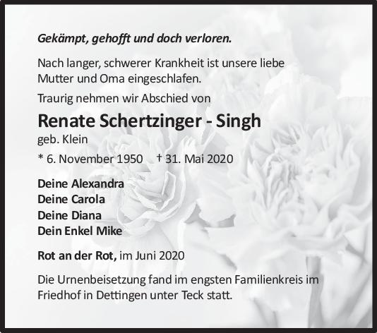 Trauer Renate Schertzinger-Singh <br><p style=