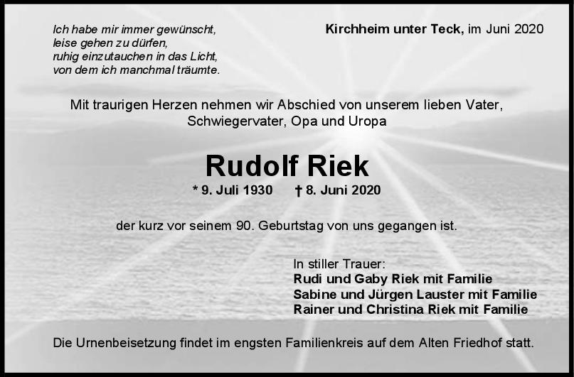 Trauer Rudolf Riek <br><p style=