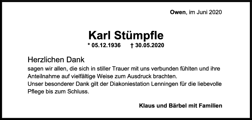 Danksagung Karl Stümpfle <br><p style=