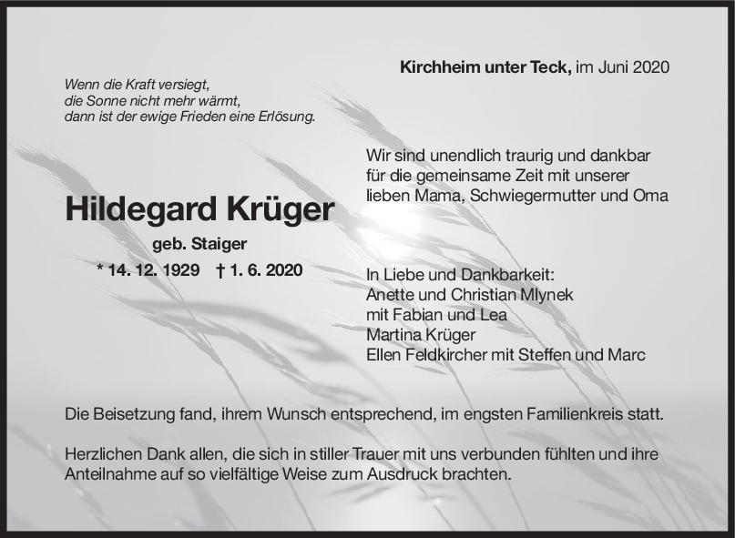 "Trauer Hildegard Krüger <br><p style=""font-size: 10px; text-align: center;"">20/06/2020</p>"