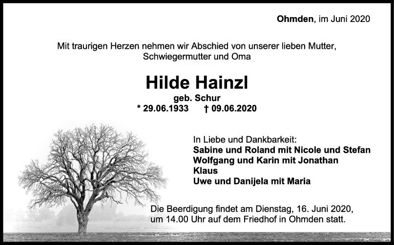 Trauer Hilde Hainzl <br><p style=