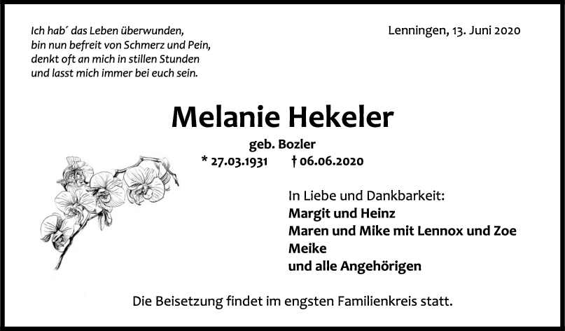 """Trauer Melanie Hekeler <br><p style=""""font-size: 10px; text-align: center;"""">13/06/2020</p>"""