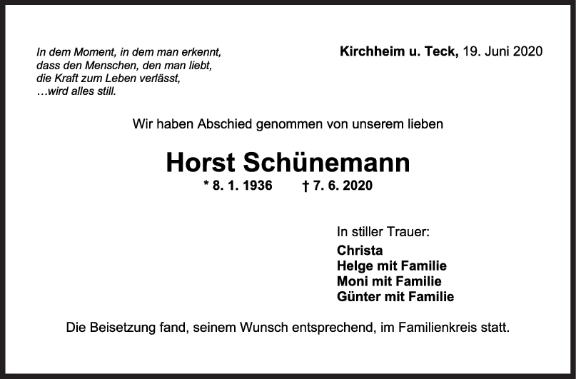 Trauer Horst Schünemann <br><p style=