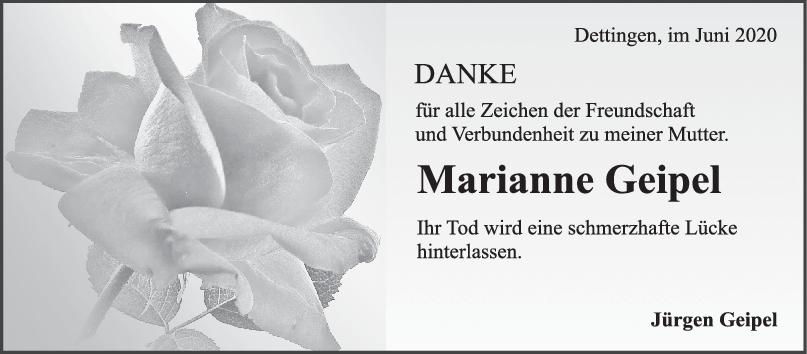 Danksagung Marianne Geipel <br><p style=