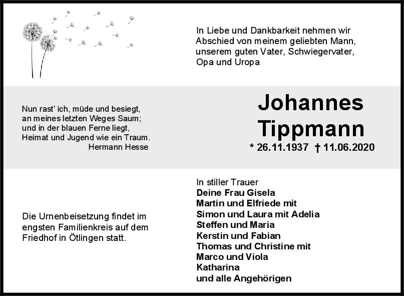 Trauer Johannes Tippmann <br><p style=