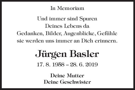 "Nachruf Jürgen Basler <br><p style=""font-size: 10px; text-align: center;"">27/06/2020</p>"