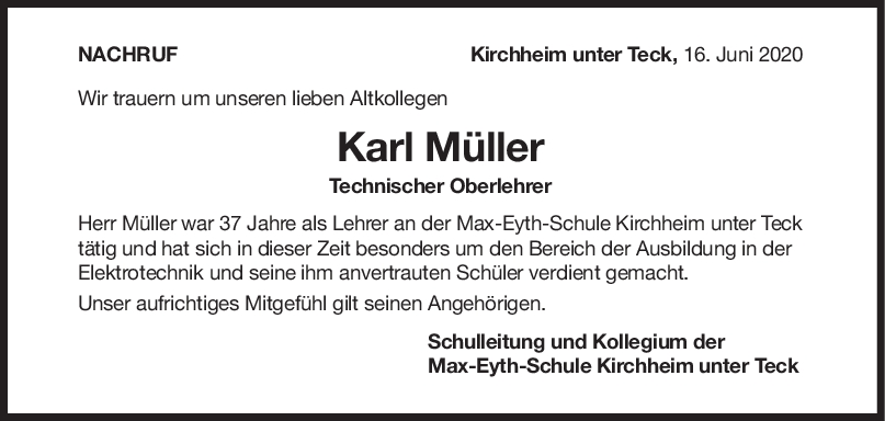 """Nachruf Karl Müller <br><p style=""""font-size: 10px; text-align: center;"""">17/06/2020</p>"""