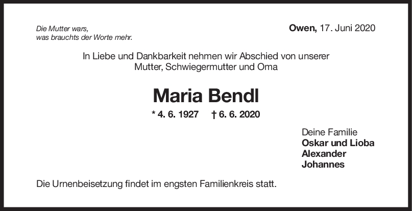 "Trauer Maria Bendl <br><p style=""font-size: 10px; text-align: center;"">17/06/2020</p>"